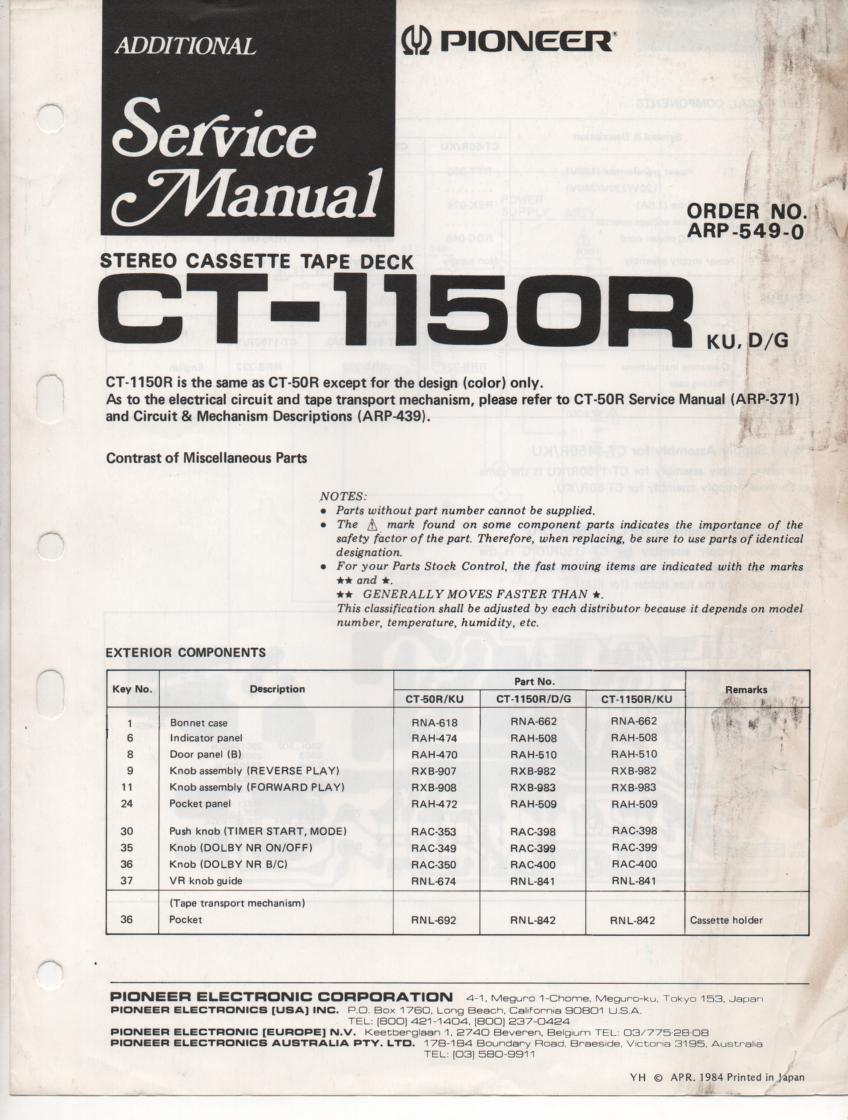 CT-1150R Cassette Deck Service Manual ..ARP-549-0. CT-50R Manuals ARP-371 and ARP-439 inclUded