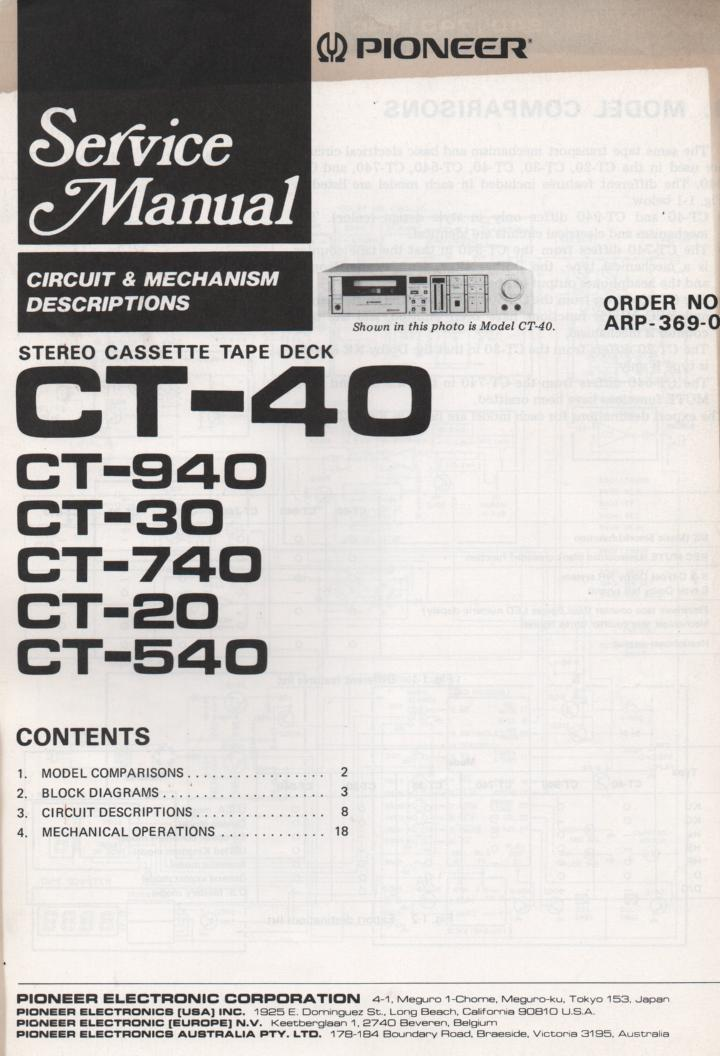 CT-20 Cassette Deck Circuits and Mechanism Service Manual. Contains mostly block diagrams..ARP-369-0