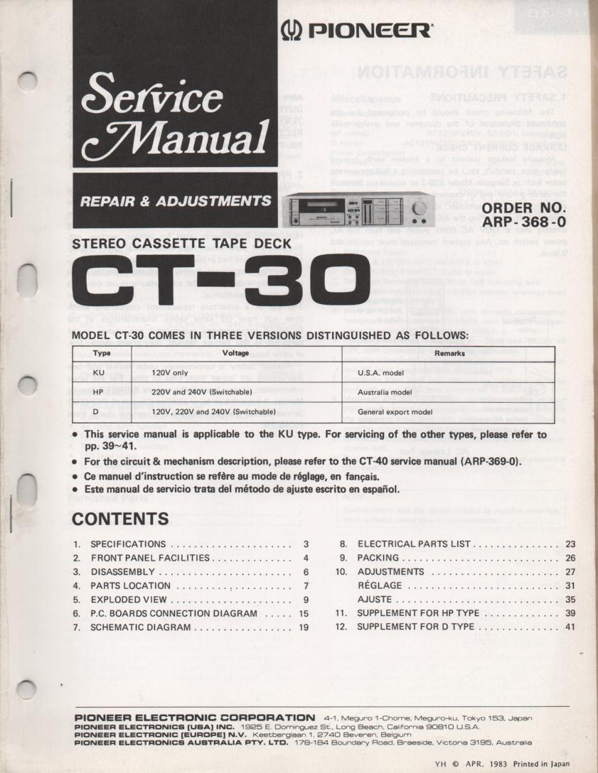 CT-30 Cassette Deck Repair and Adjustments Service Manual. ARP-368-0..