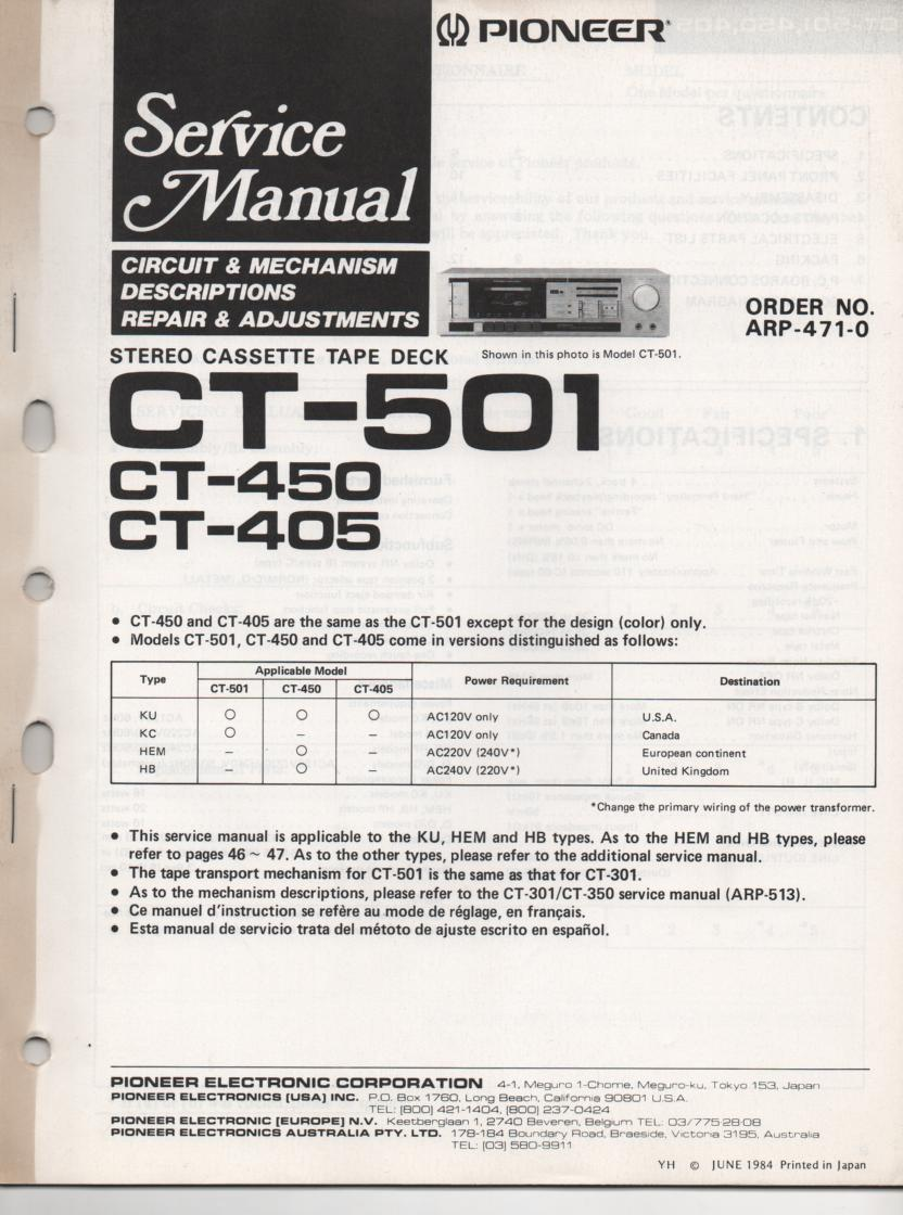 CT-405 CT-450 CT-501 Cassette Deck Service Manual. ARP-471-0.  Additional mechanism info. CT-301 Manual ARP-513-0...English, French, Spanish..