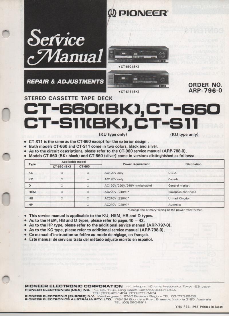 CT-660 CT-660BK CT-S11 CT-S11BK  Cassette Deck Service Manual ARP-796-0. CT-960 Manual ARP-788-0 has additional circuit description section..