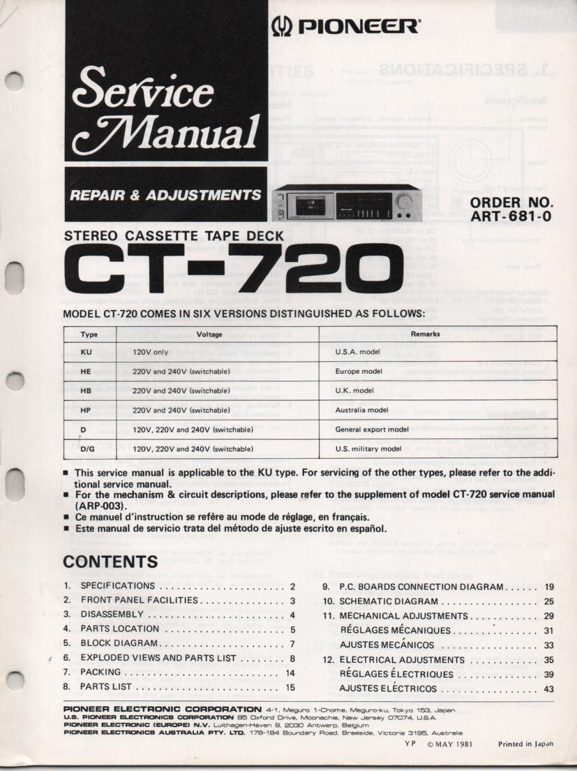 CT-720 Cassette Deck Service Instruction Manual