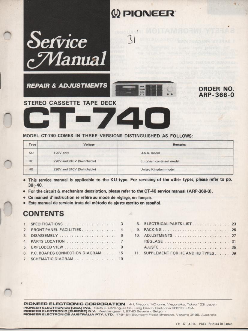 CT-740 Cassette Deck Service Instruction Manual