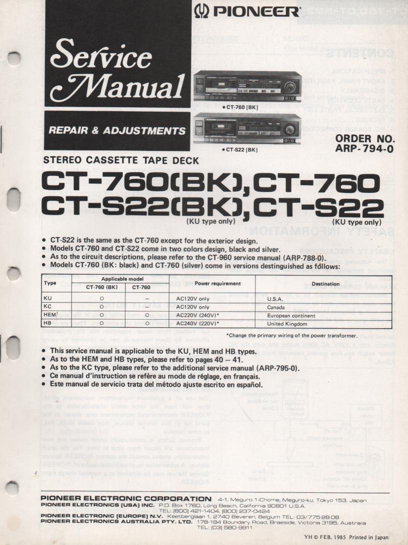 CT-760 CT-S22 Cassette Deck Service Instruction Manual
