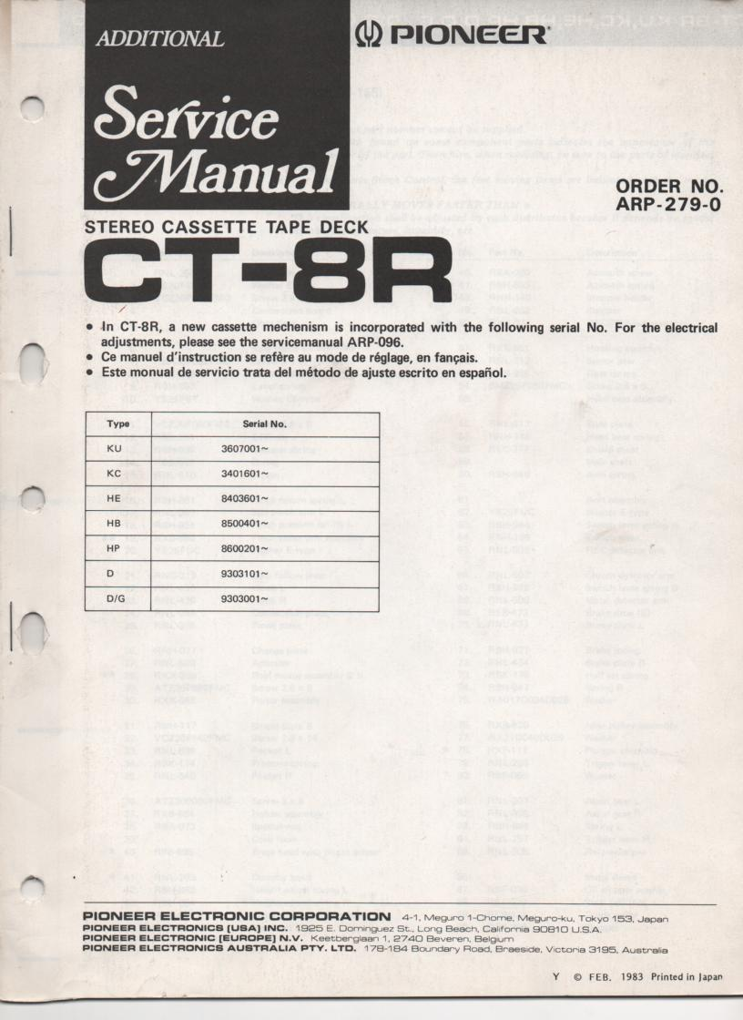 CT-8R Cassette Deck Service Manual . Updated Mechanism Service Manual. KU Serial No. 3607001 and up. KC Serial No. 3401601 and up. HE Serial No. 8403601 and up. HB Serial No. 8500401 and up. HP Serial No. 8600201 and up. D Serial No. 9303101 and up. D/G Serial No. 9301001 and up. Manual is in English French and Spanish.. Contains updated mechanism disassembly and parts list, adjustments, schematics. ARP-279-0