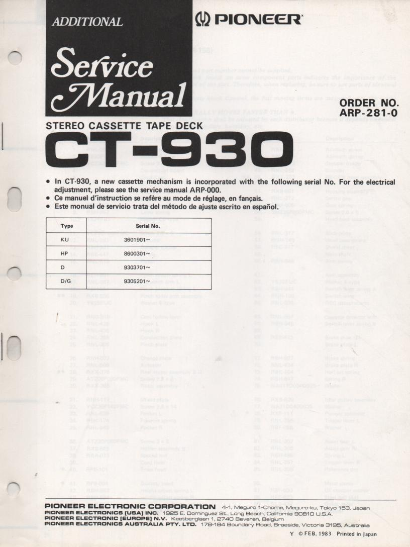 CT-930 Cassette Deck Mechanism Update Service Manual. ARP-281-0 .