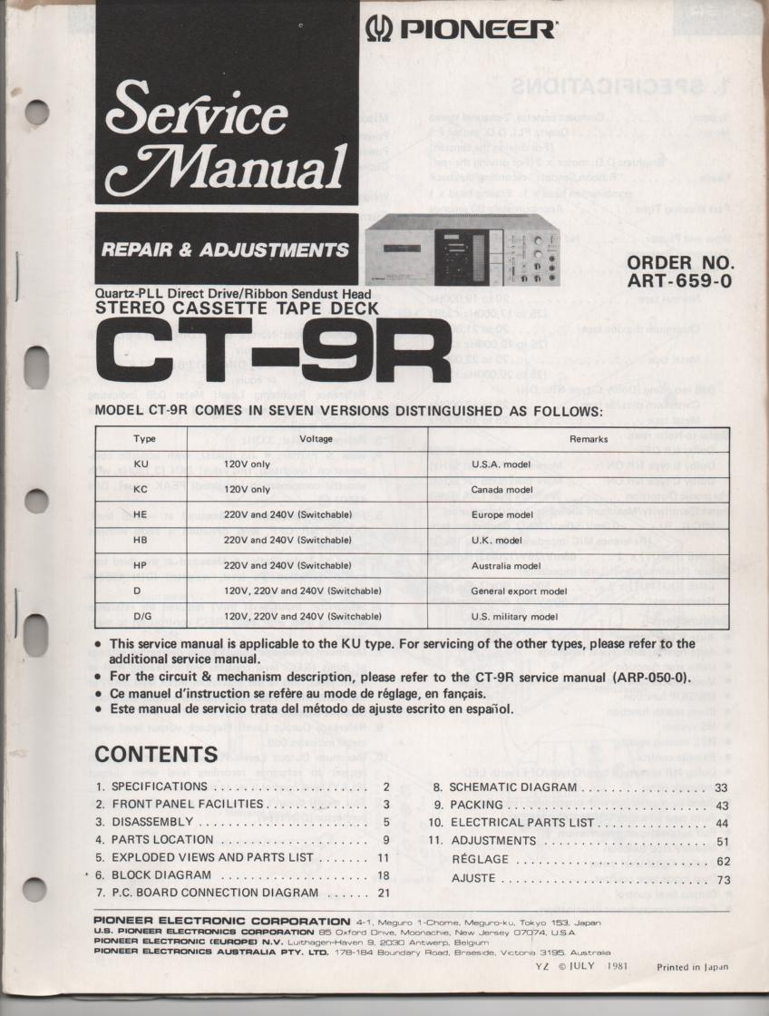 CT-9R Cassette Deck Repair and adjustment Service Manual . ART-659-0 ...84 pages