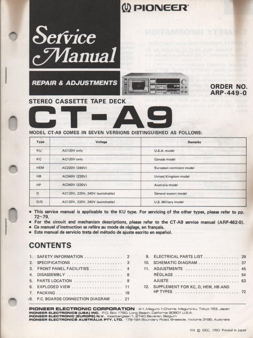 CT-A9 Cassette Deck Repair and Adjustments Service Manual
