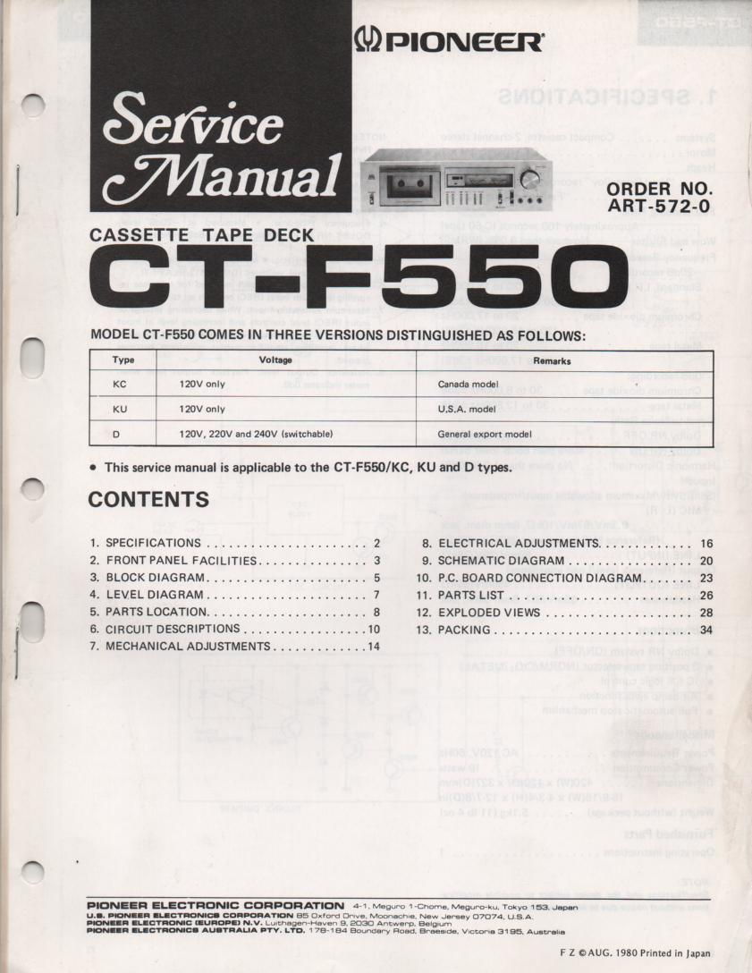 CT-F550 Cassette Deck Service Manual. ART-572-0