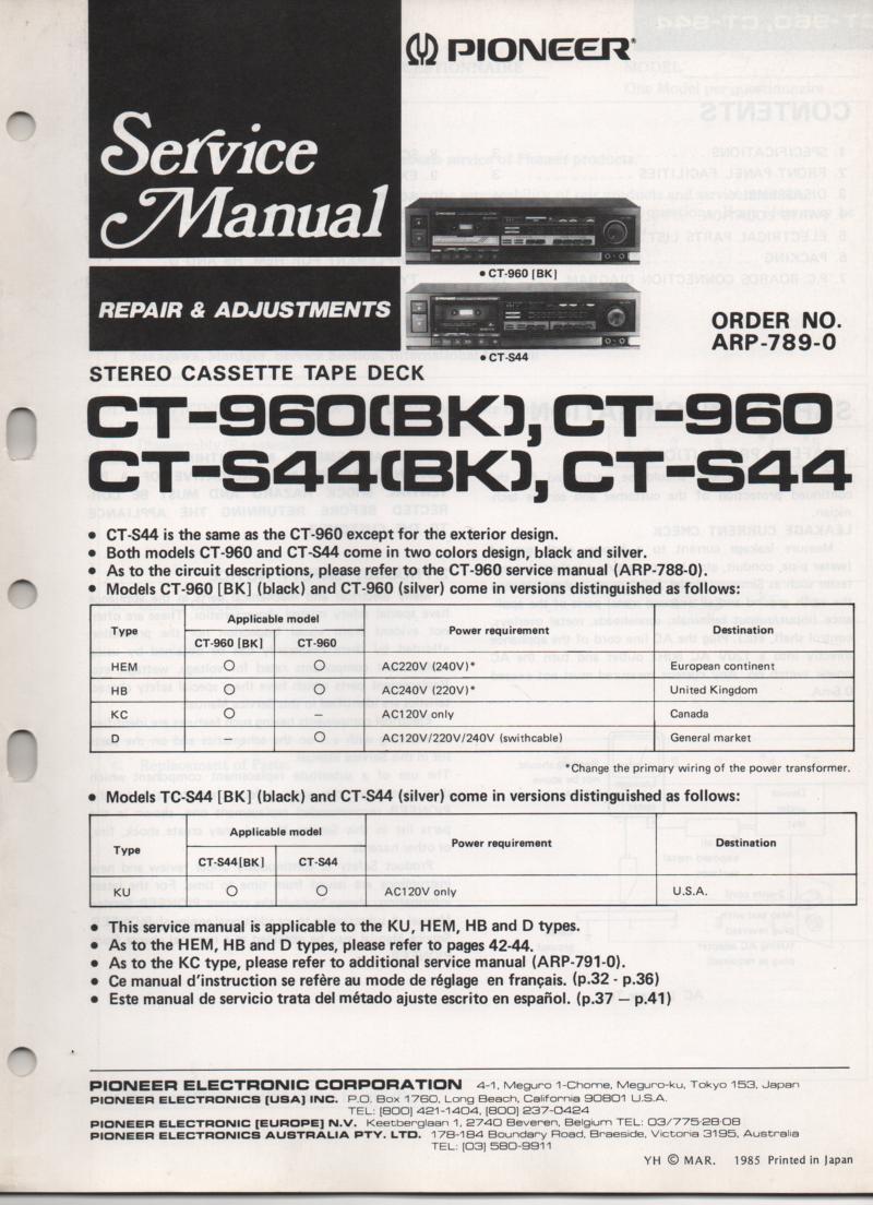 CT-S44 CT-S44BK CT-960 CT-960BK Cassette Deck Service Manual. ARP-789-0