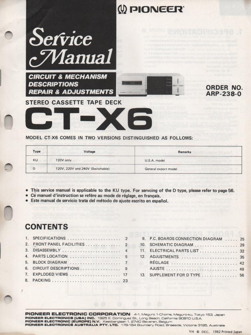 CT-X6 Cassette Deck Service Manual.