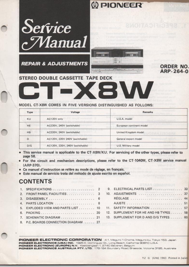 CT-X8W Cassette Deck Service Manual. ARP-264-0