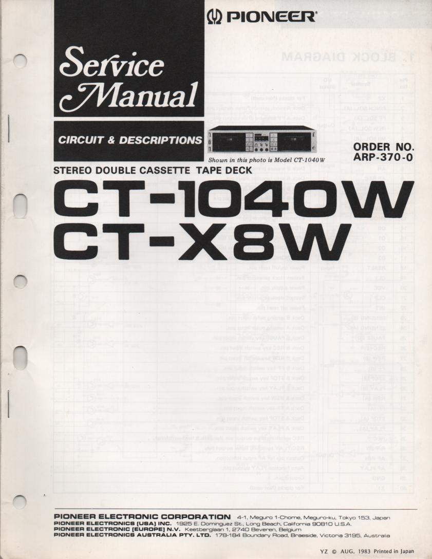CT-X8W CT-1040W Cassette Deck Circuit Descriptions Service Manual. ARP-370-0 24 pages.