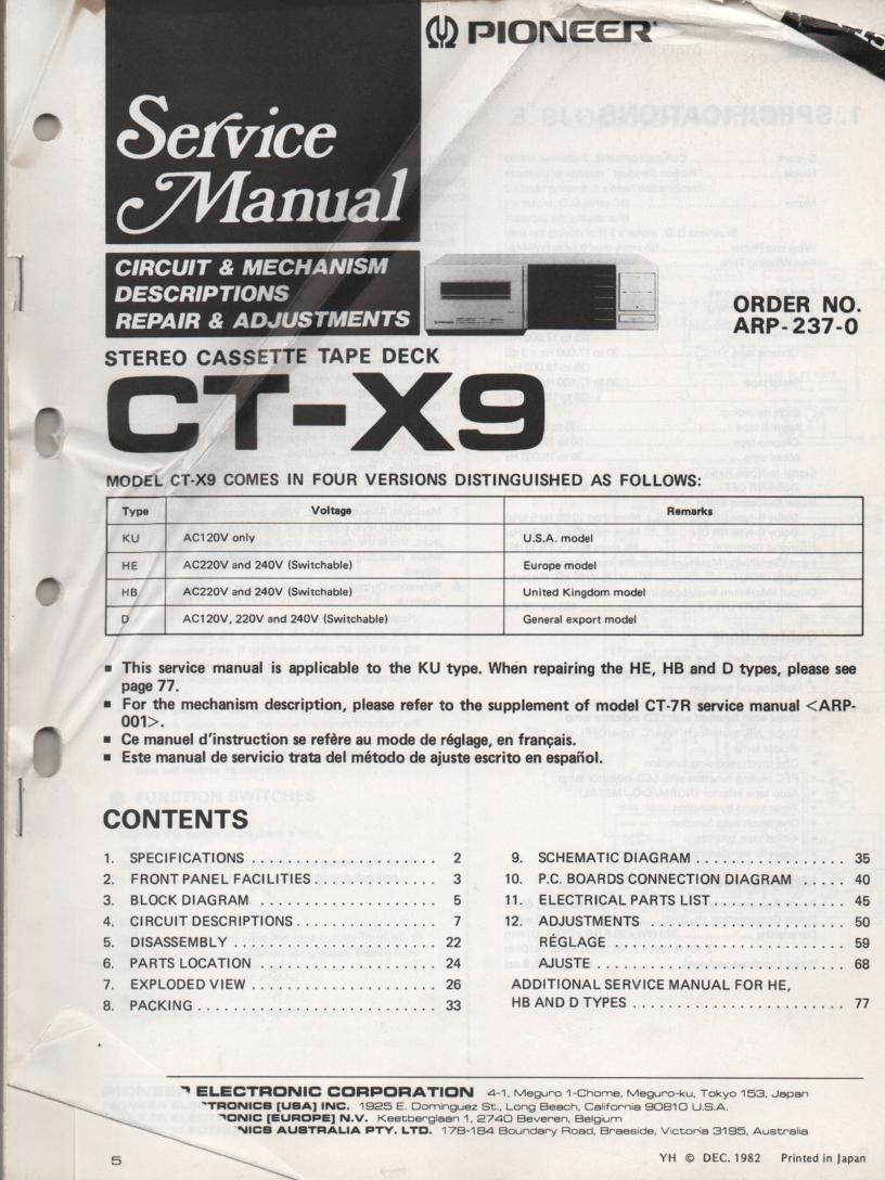 CT-X9 Cassette Deck Service Manual ARP-237-0 .Manual is in English, French, Spanish.  See CT-7R ARP-001-0 Manual for mechanusm description..