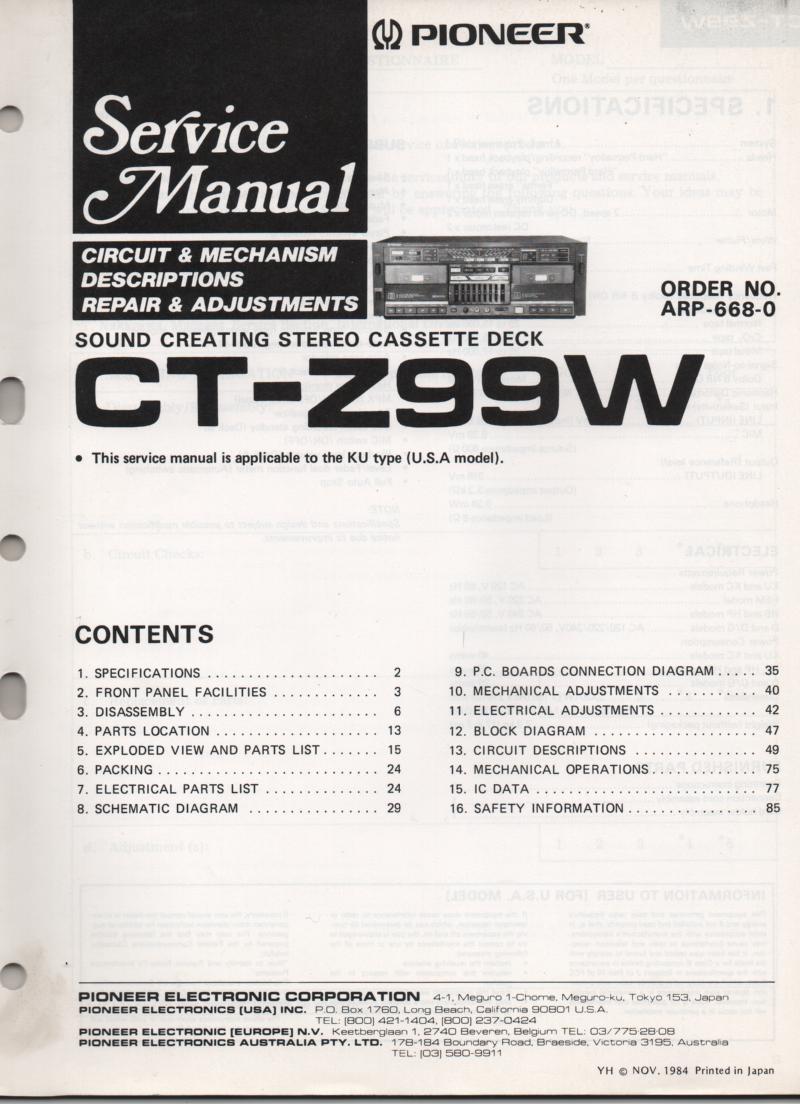 CT-Z99W Cassette Deck Service Manual. ARP-668-0