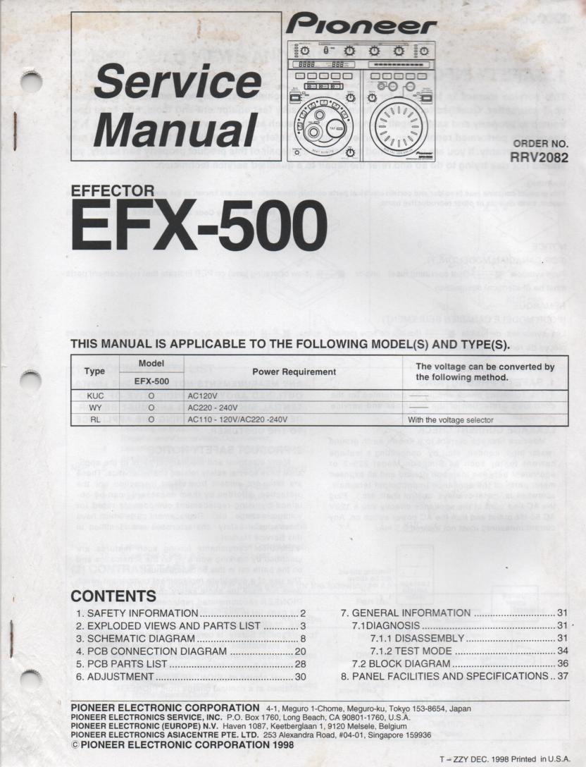 EFX-500 Effector Service Manual