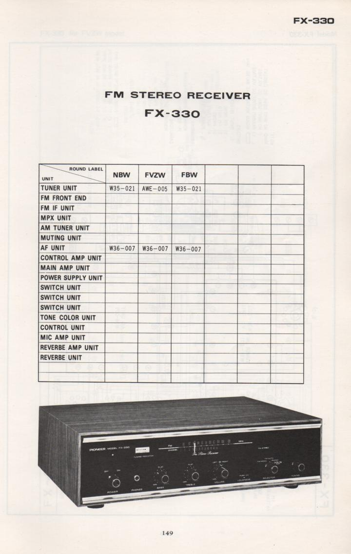 FX-330 Schematic Manual Only.  It does not contain parts lists, alignments,etc.  Schematics only