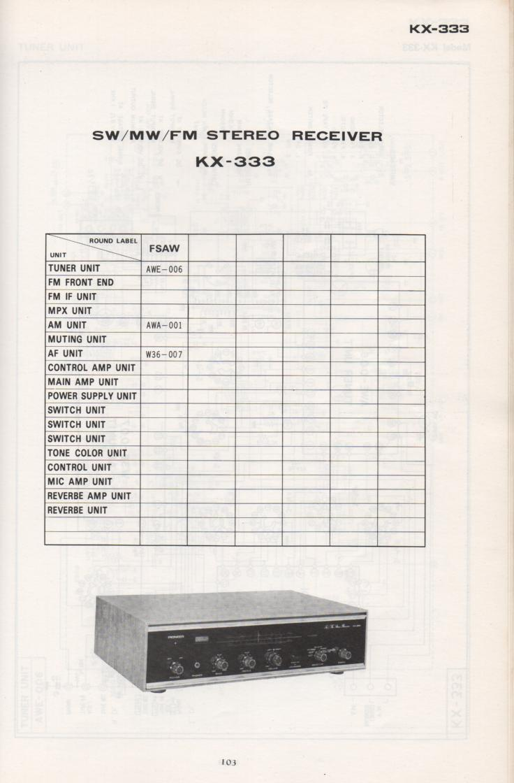 KX-333 Receiver Schematic Manual Only.  It does not contain parts lists, alignments,etc.  Schematics only