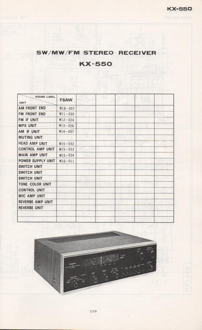 KX-550 Receiver Schematic Manual Only.  It does not contain parts lists, alignments,etc.  Schematics only
