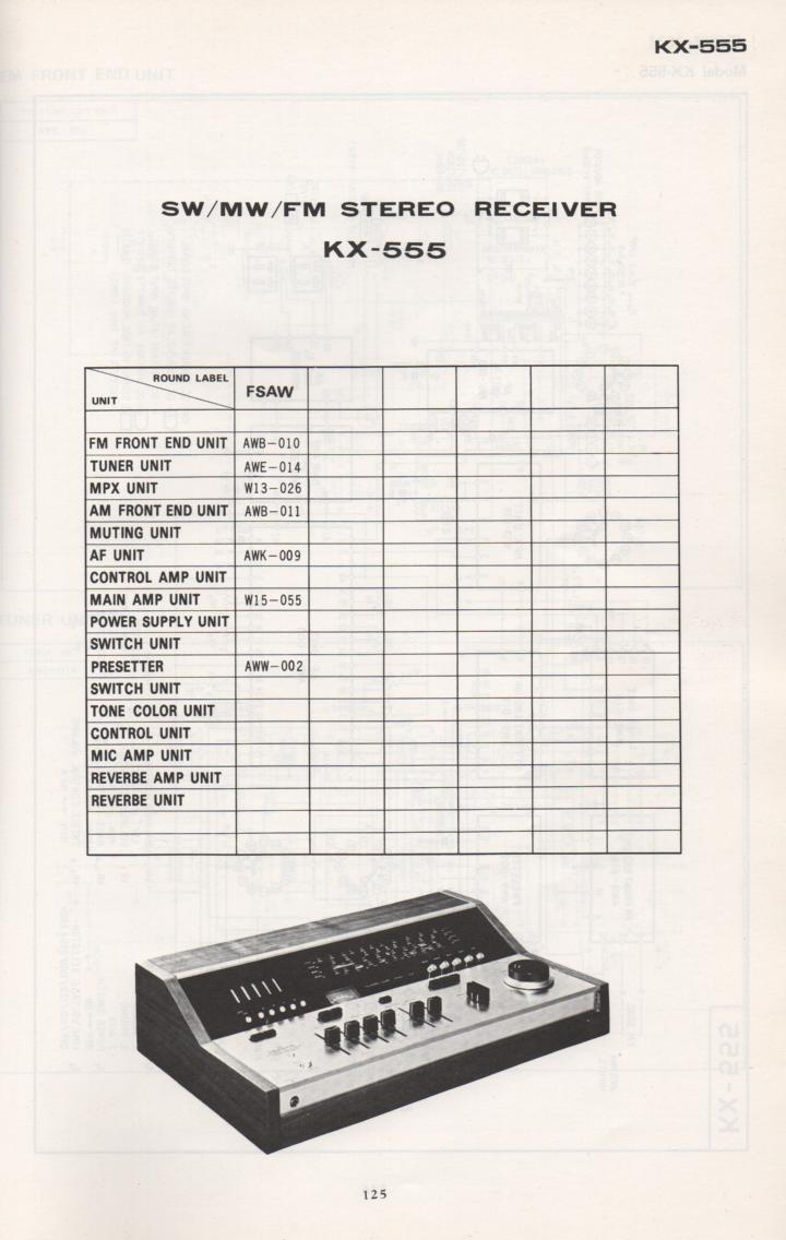 KX-555 Schematic Manual Only.  It does not contain parts lists, alignments,etc.  Schematics only