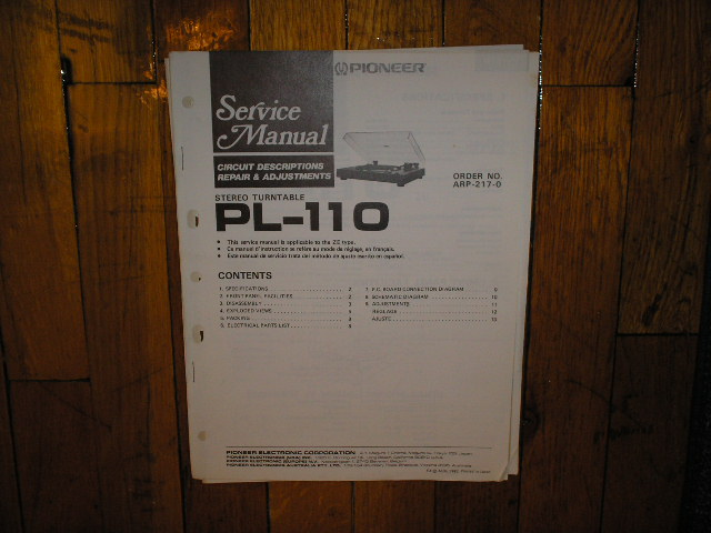 PL-110 Turntable Service Manual