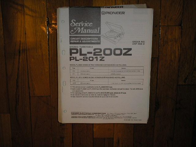 PL-200Z PL-201Z Turntable Service Manual