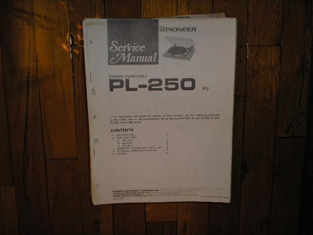 PL-250 Turntable Service Manual.  3 Manuals.