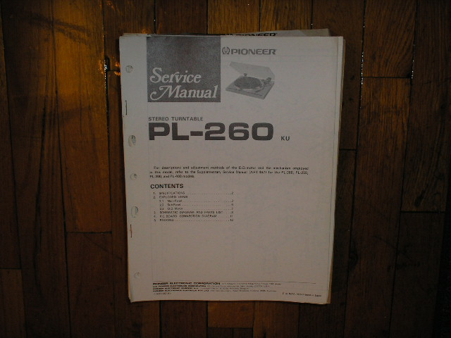 PL-260 Turntable Service Manual. 3 Manuals