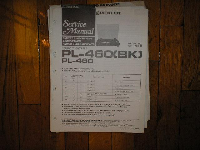 PL-460 PL-460BK Turntable Service Manual