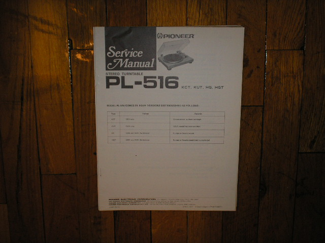 PL-516 Turntable Service Manual