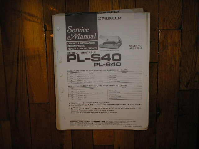 PL-640 PL-S40 Turntable Service Manual