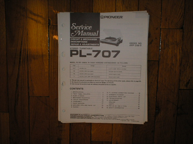 PL-707 Turntable Service Manual