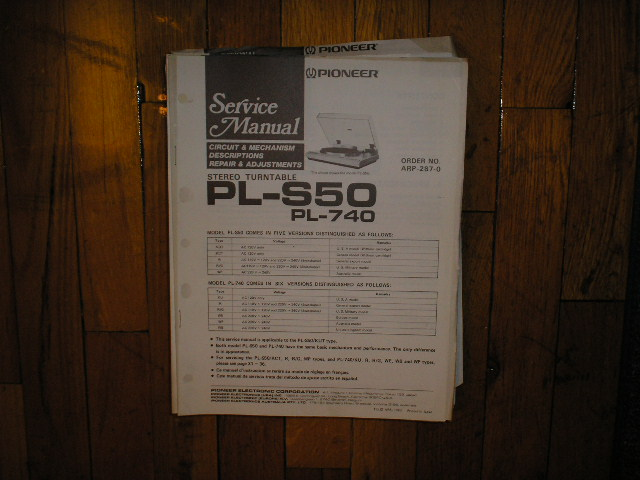 PL-740 PL-S50 Turntable Service Manual