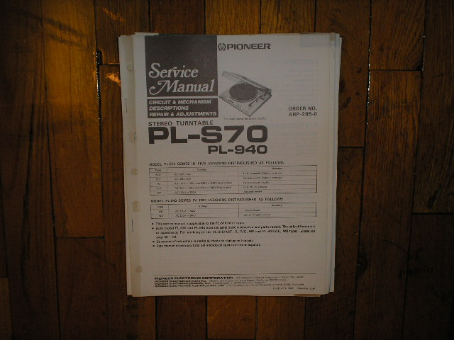 PL-940 PL-S70 Turntable Service Manual