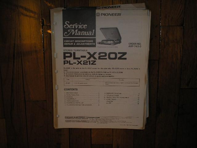 PL-X20Z PL-X21Z Turntable Service Manual