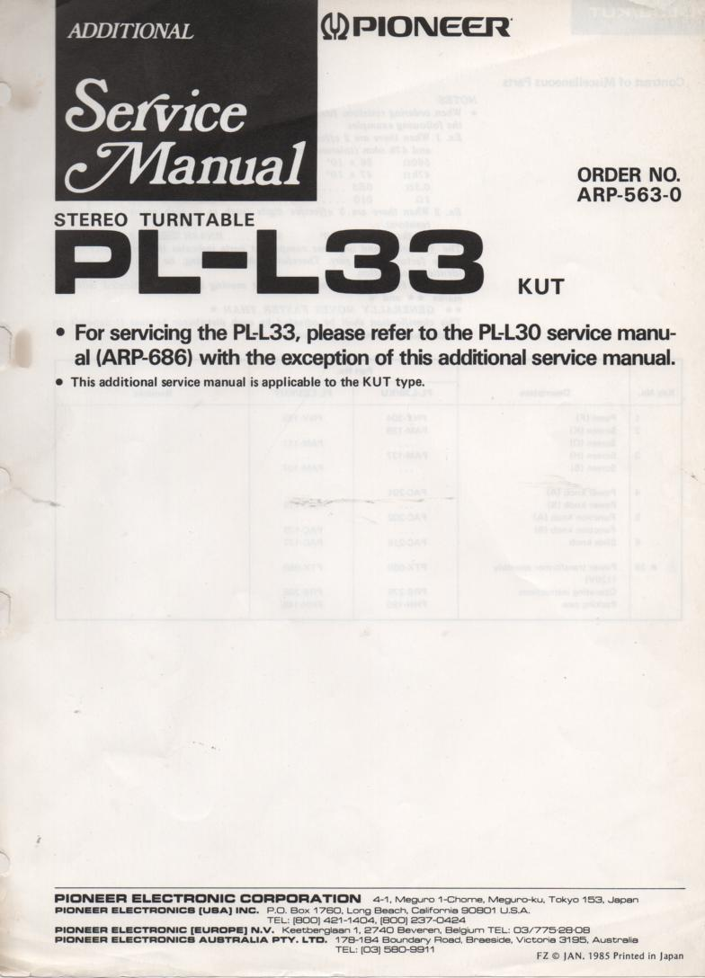 PL-L33 Turntable Service Manual. Use with PL-L30 manual is included