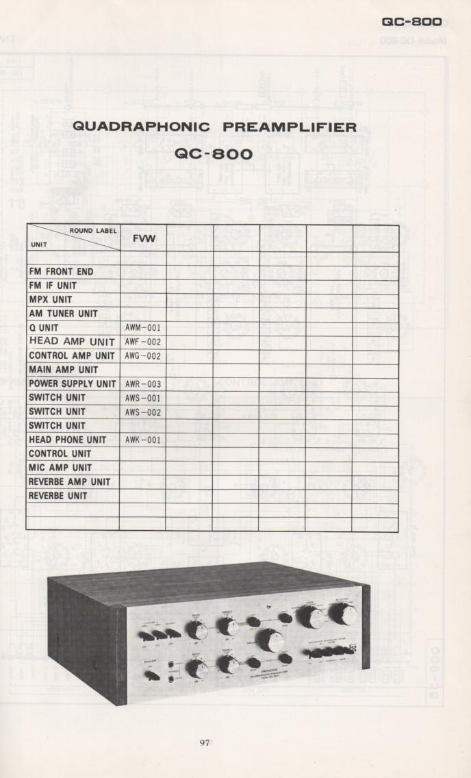 QC-800 Quadraphonic Pre-Amplifier Schematic Manual Only.  It does not contain parts lists, alignments,etc.  Schematics only