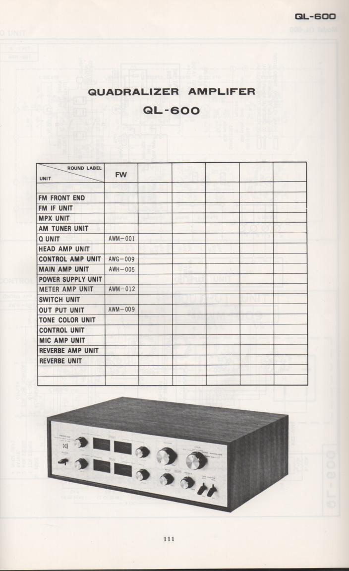 QL-600 Amplifier Schematic Manual Only.  It does not contain parts lists, alignments,etc.  Schematics only