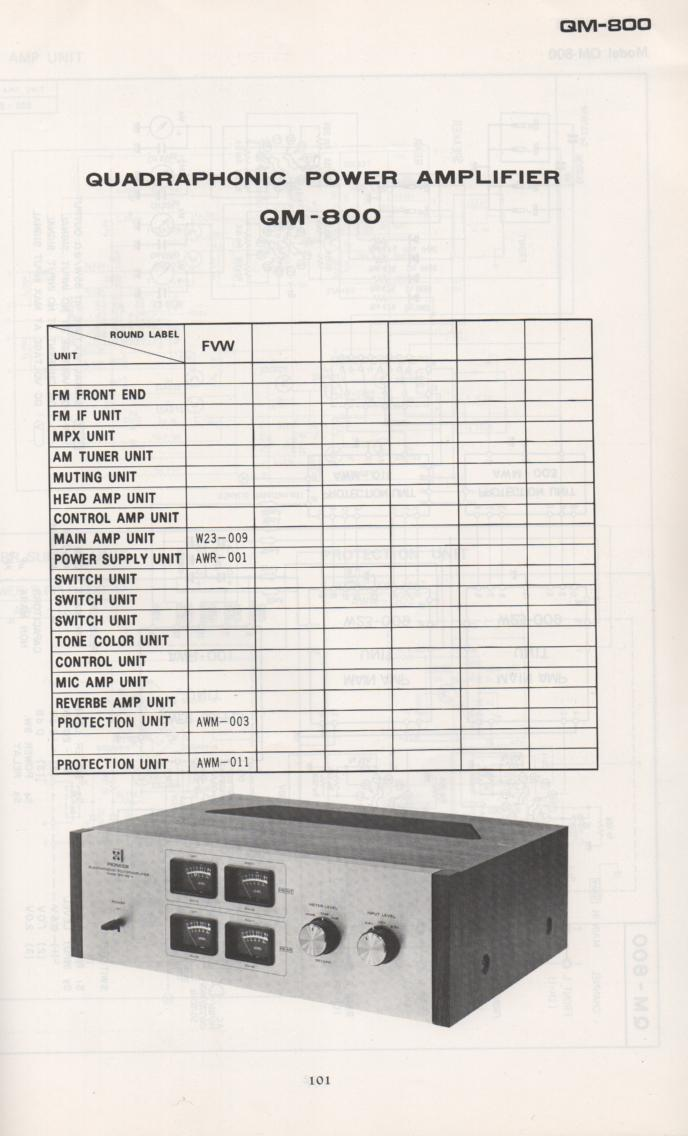 QM-800 Power Amplifier Schematic Manual Only.  It does not contain parts lists, alignments,etc.  Schematics only