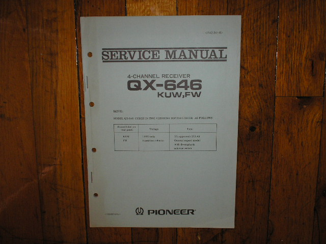 QX-646 4-Channel Receiver Service Manual for KUW and FW Versions. 2 Manual Set..