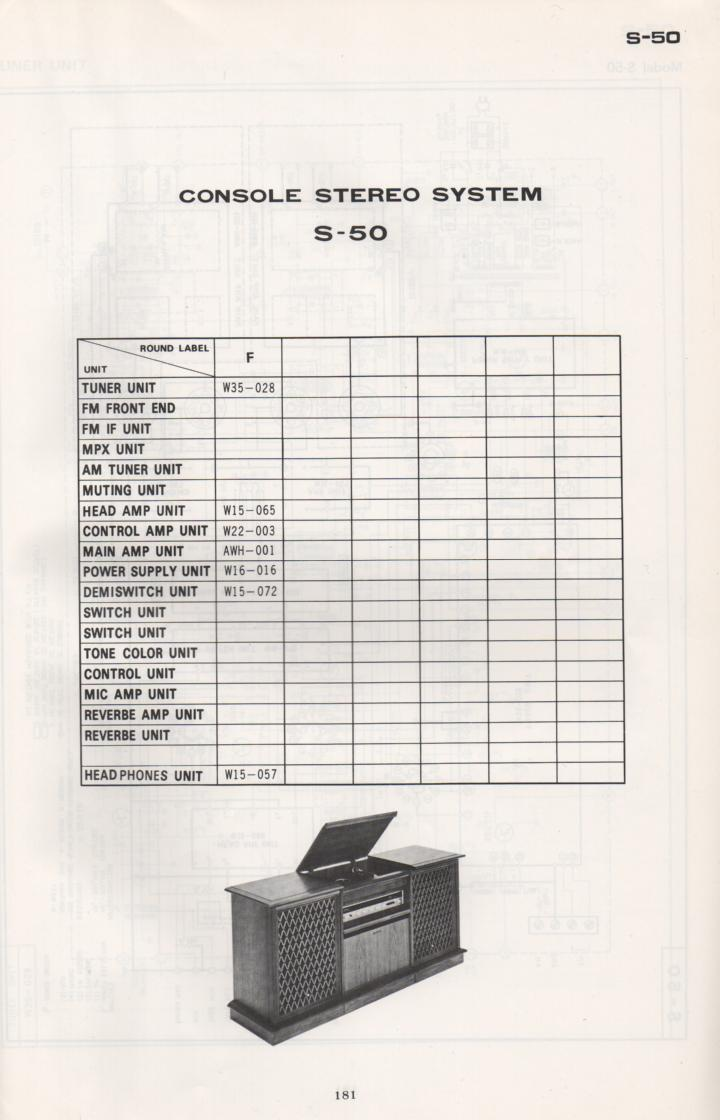 S-50 Stereo System Schematic Manual Only.  It does not contain parts lists, alignments,etc.  Schematics only