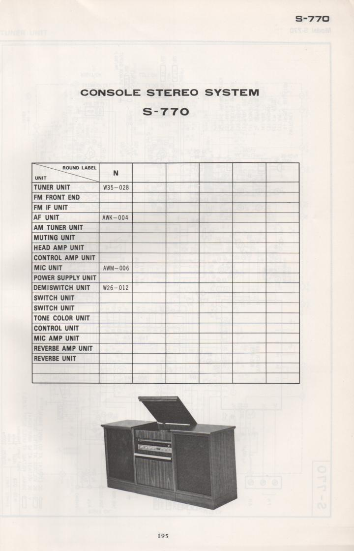 S-770 Stereo System Schematic Manual Only.  It does not contain parts lists, alignments,etc.  Schematics only