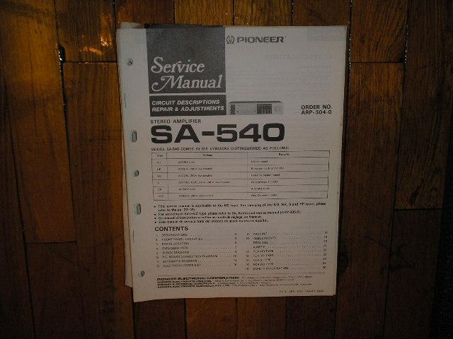 SA-540 Amplifier Service Manual