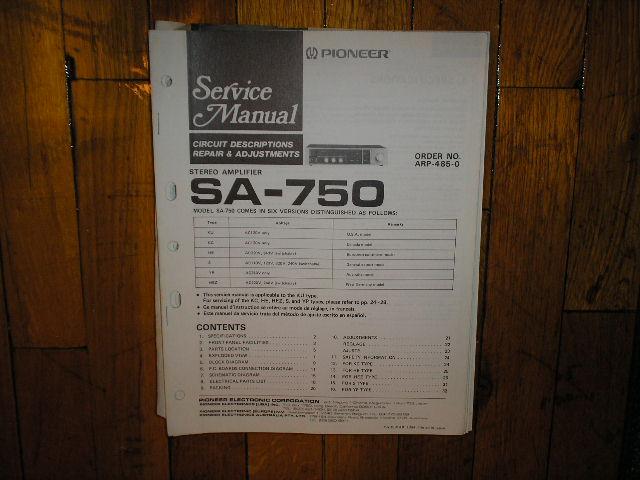 SA-750 Amplifier Service Manual