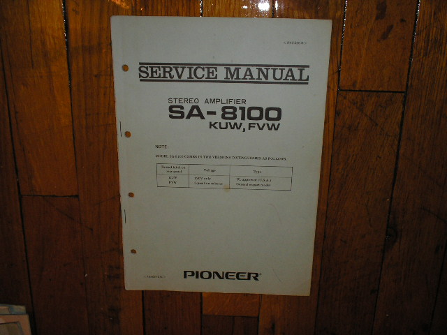 SA-8100 Amplifier Service Manual for KUW FVW Types