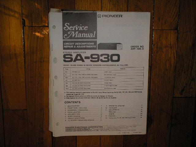 SA-930 Amplifier Service Manual