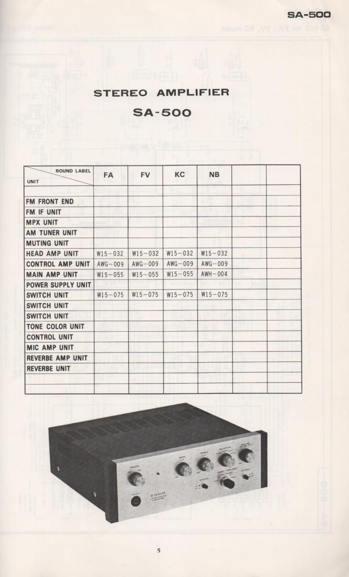 SA-500 Amplifier Schematic Manual Only.  It does not contain parts lists, alignments,etc.  Schematics only