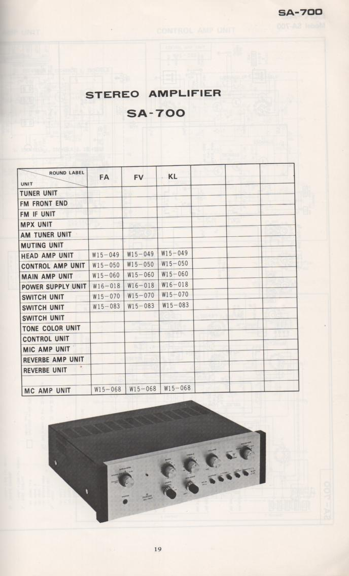 SA-700 Amplifier Schematic Manual Only.  It does not contain parts lists, alignments,etc.  Schematics only