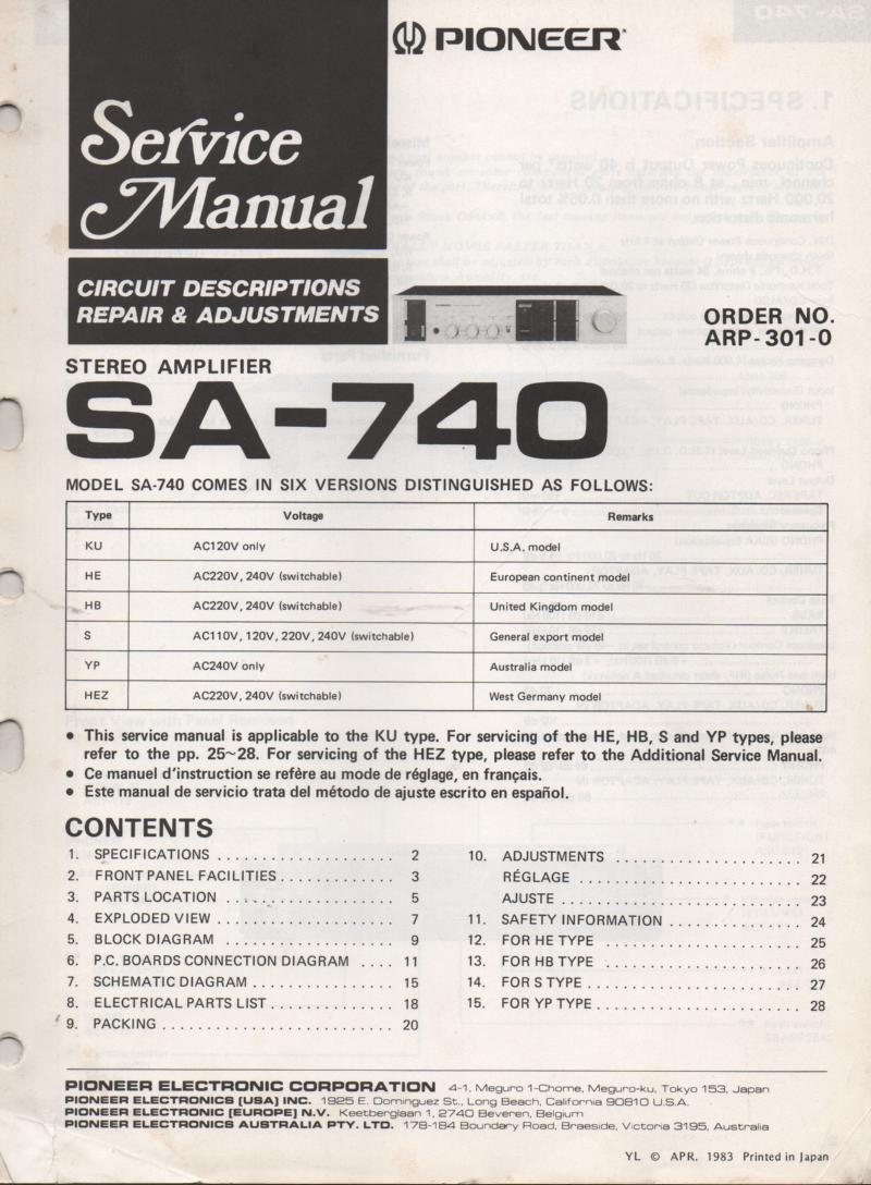 SA-740 Amplifier Service Manual. partial French and Spanish instructions.