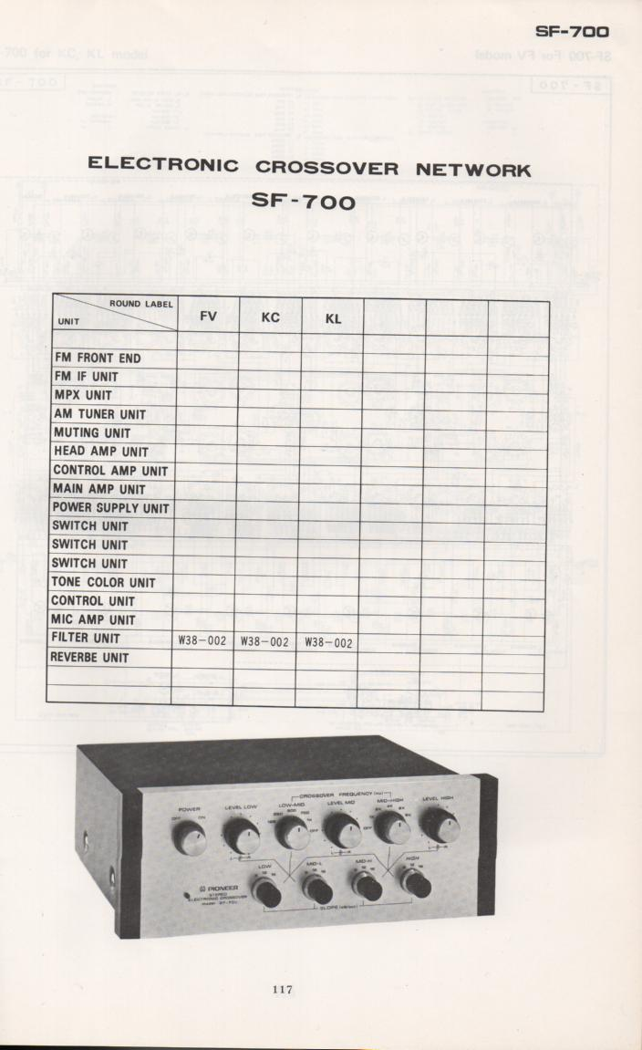 SF-700 Electronic Crossover Schematic Manual Only.  It does not contain parts lists, alignments,etc.  Schematics only
